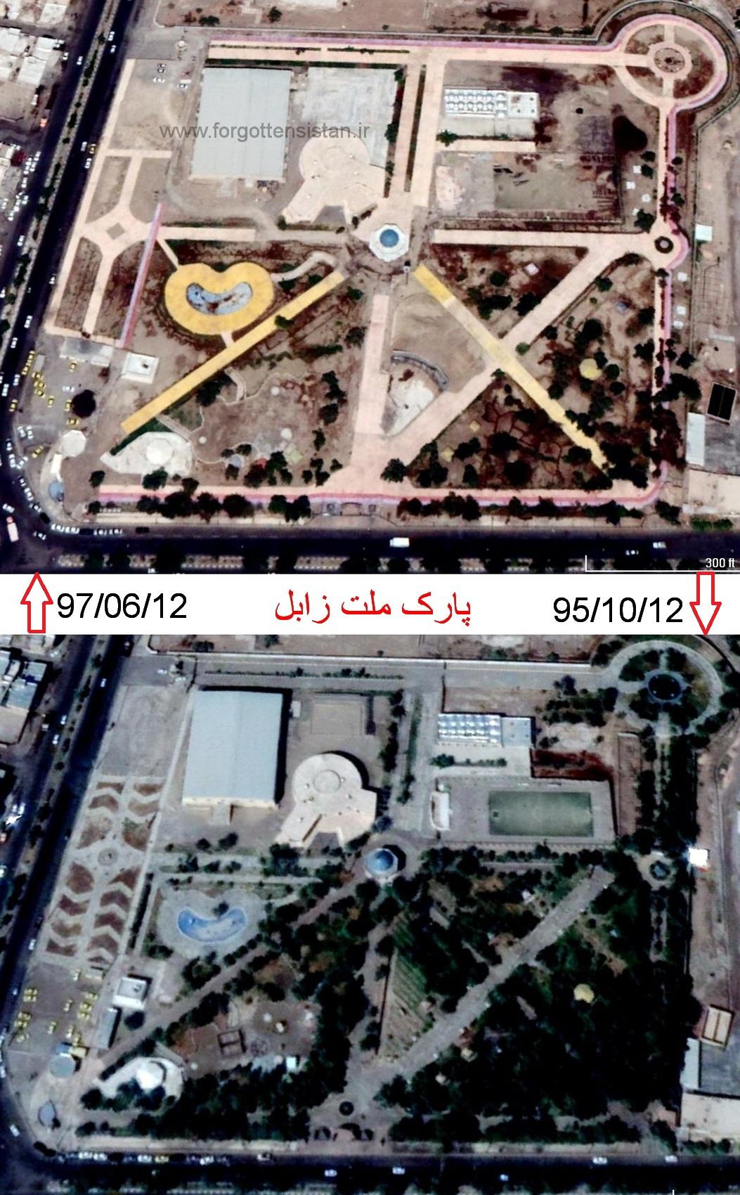 تصویر هوایی گوگل از پارک ملت زابل