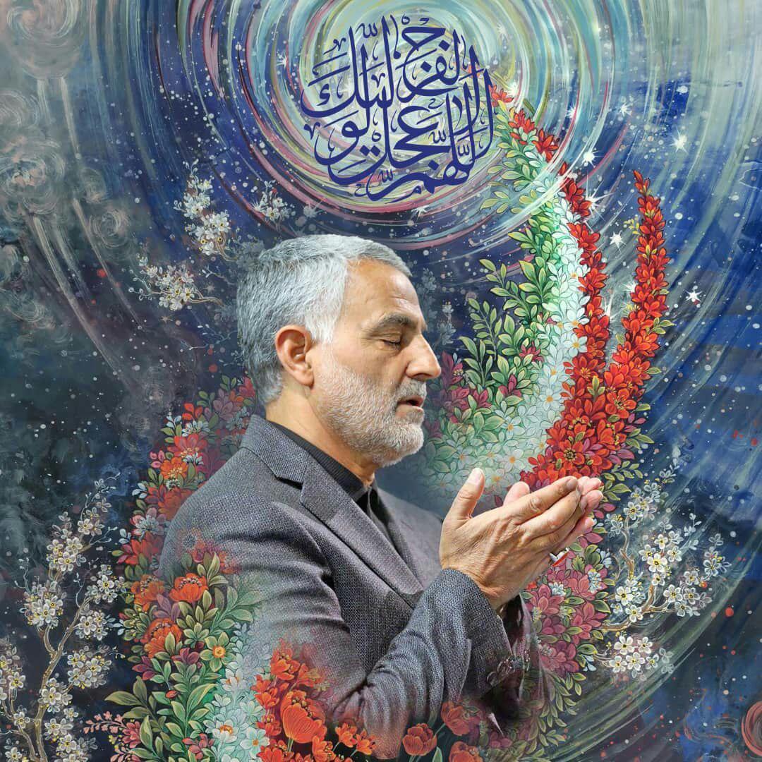 تصویر زیبایی از بزرگ مرد میدان های نبرد  شهید حاج قاسم سلیمانی